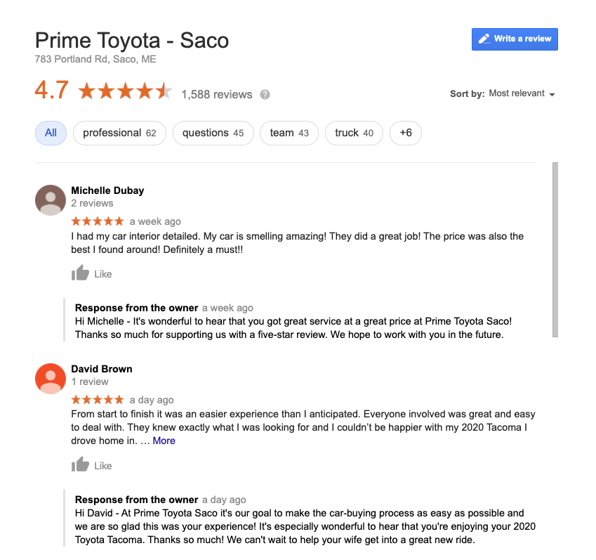 Example of good reviews